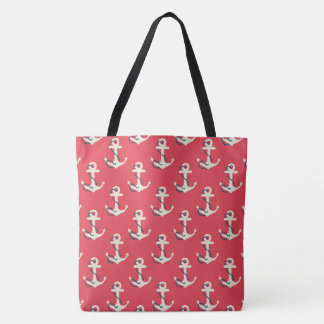 Red Nautical Anchor Large Tote