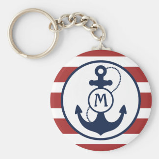 Red Nautical Anchor Monogram Key Ring