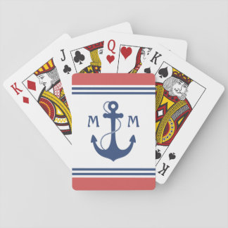 Red Nautical Anchor Monogram Playing Cards