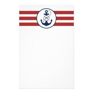 Red Nautical Anchor Monogram Stationery