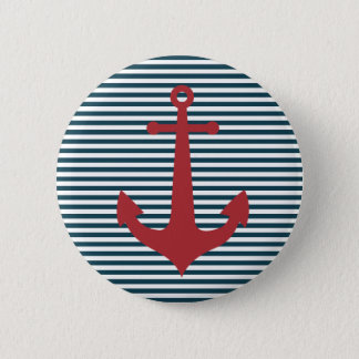 Red nautical anchor on striped blue background 6 cm round badge