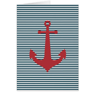 Red nautical anchor on striped blue background card