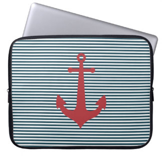 Red nautical anchor on striped blue background laptop sleeve