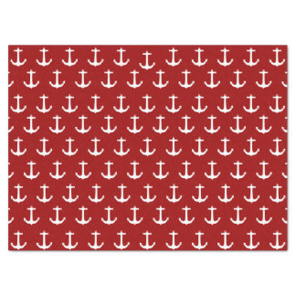 Red Nautical Anchor Pattern Tissue Paper
