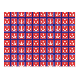 Red Nautical Anchor Squares Postcard