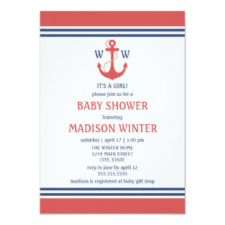 Red Nautical Baby Shower Invitations