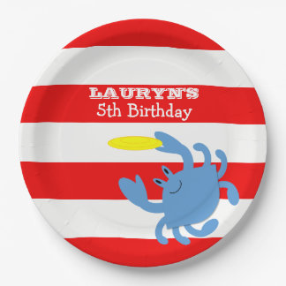 Red Nautical Blue Crab Personalized Paper Plate