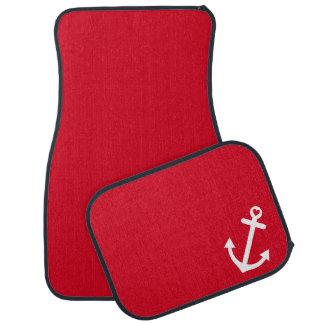 Red Nautical Love Anchor Car Mat
