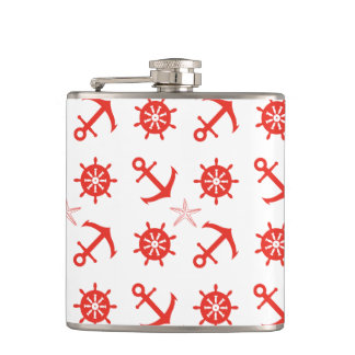 Red nautical pattern hip flask