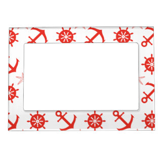 Red nautical pattern magnetic frame