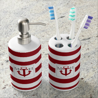 Red Nautical Stripe and Anchor with Monogram Soap Dispenser And Toothbrush Holder