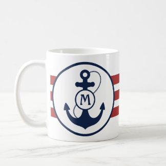 Red Nautical Stripes with Anchor and Monogram Coffee Mug