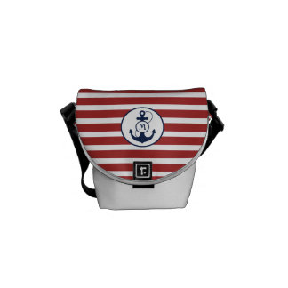 Red Nautical Stripes with Anchor Monogram Messenger Bags