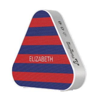 Red Navy 5c Horizontal Preppy Stripe Name Monogram Speaker