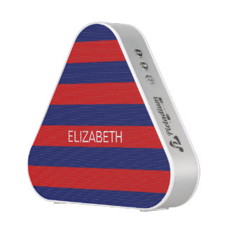 Red Navy 5c Horizontal Preppy Stripe Name Monogram