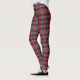 (red, navy & beige plaid) leggings