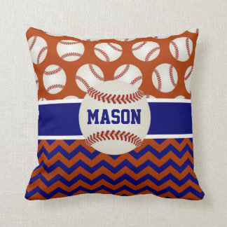 Red Navy Blue Baseball Throw Pillow
