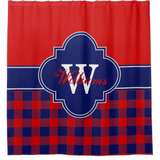 Red Navy Blue Buffalo Plaid 1ICBR Monogram Shower Curtain