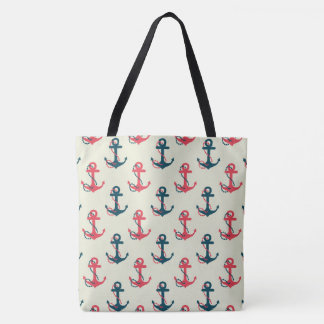 Red & Navy Blue Nautical Anchor Large Tote