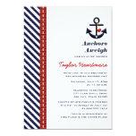 Red Navy Blue Nautical Bridal Shower Invitations 13 Cm X 18 Cm Invitation Card