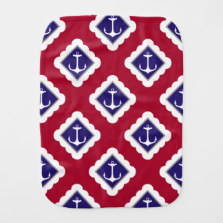Red, Navy Blue, White Anchors Nautical Pattern Burp Cloth