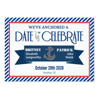 Red Navy Blue & White Nautical Wedding Invitations