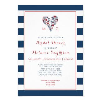 Red Navy Bridal Shower, floral heart stripe 3986 Card
