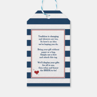 Red Navy Bridal Shower no wrap display gift 3986 Gift Tags