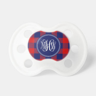 Red Navy Buffalo Check Plaid Navy Vine Monogram Baby Pacifiers