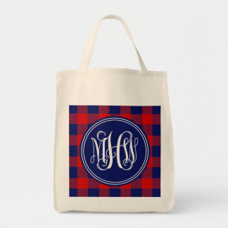 Red Navy Buffalo Check Plaid Navy Vine Monogram Grocery Tote Bag