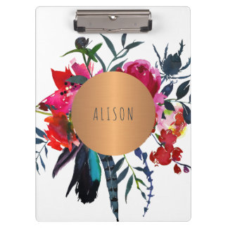 Red navy copper geometric floral chic school clipboard
