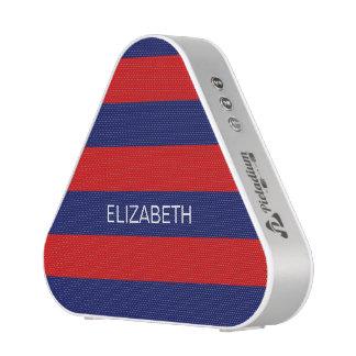 Red Navy Horiz Preppy Stripe #3 Name Monogram