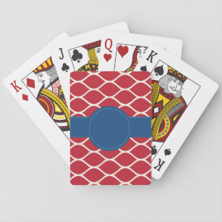 Red Navy Personalized Playing Cards