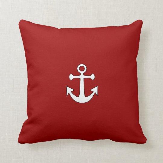 Red Navy Reversible Anchor Nautical Throw Pillow
