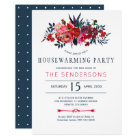 Red navy rustic boho floral housewarming party card