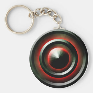 Red Neon Basic Round Button Key Ring
