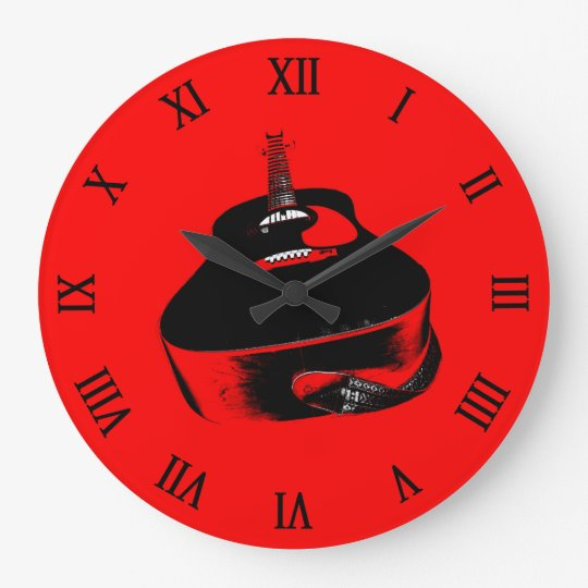 Red Neon Guitar Music Instrument Large Clock