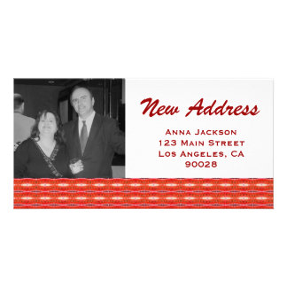 Red New Address Personalized Photo Card