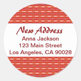 Red New Address Round Sticker