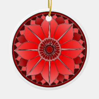 Red New Age Floral Lotus Mandala Round Ceramic Decoration