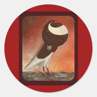 Red Norwich Cropper Pigeon Round Sticker