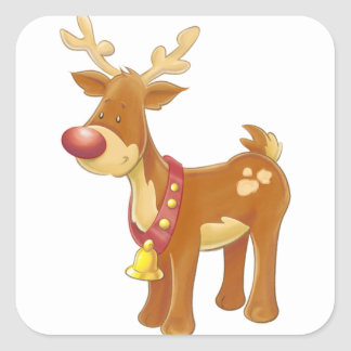 Red Nose and Jingle Bell Reindeer Square Sticker