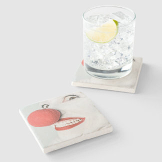Red nose clown stone beverage coaster