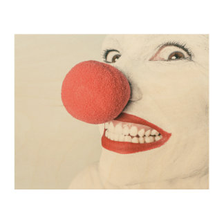 Red nose clown wood print
