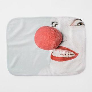 Red nose clown burp cloth