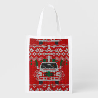 Red Nose Holiday Driver Ugly Sweater Style Reusable Grocery Bags