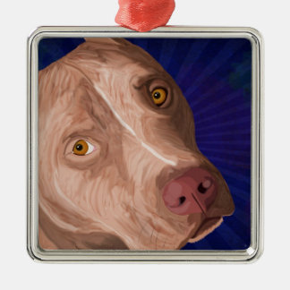Red Nose Pit Bull with a Blue Background Christmas Ornament