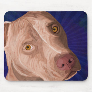 Red Nose Pit Bull with a Blue Background Mouse Mat