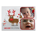 Red Nose Reindeer 2 Photo Christmas Card