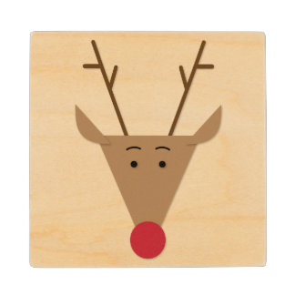 Red Nose Reindeer Christmas Coasters